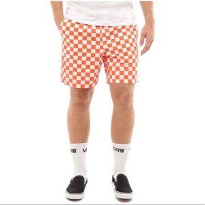 "VANS Range Short 18"" EmberGlow Check White Orange"